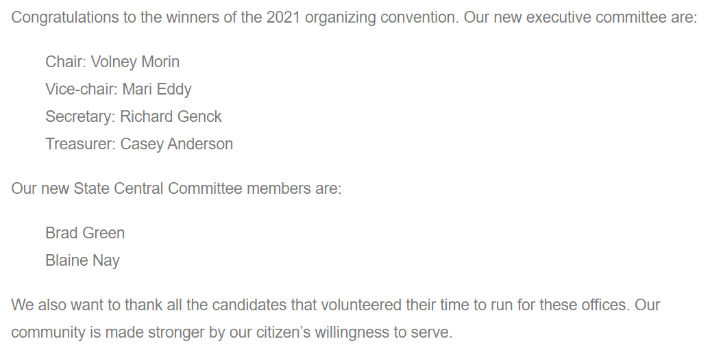 2021 Organizing Convention Results